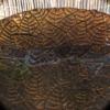Fonteinschaal glas bruin met goud afgewerkt A